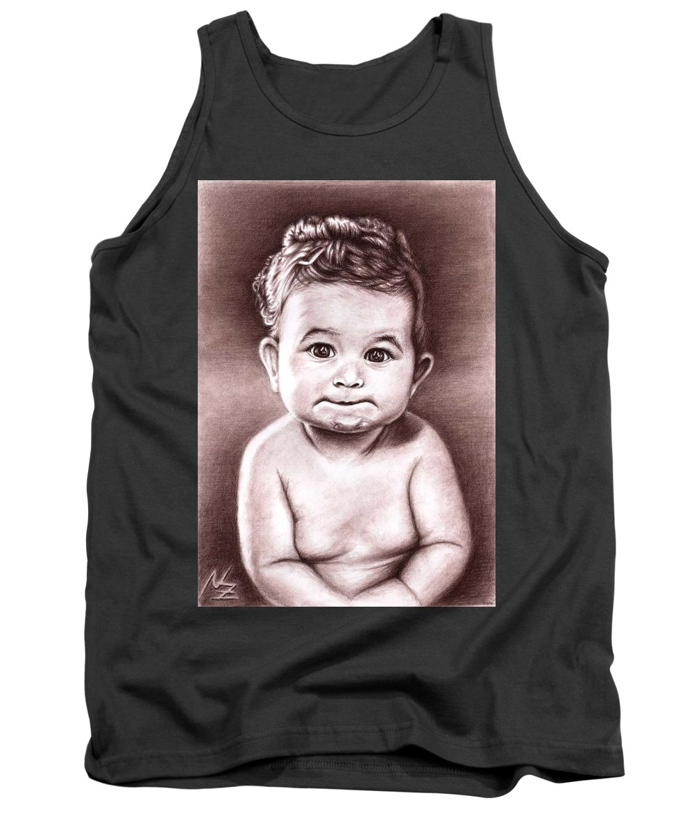 Baby Child Kind Enfant Face Sepia Charcoal Portrait Realism Tank Top featuring the drawing Babyface by Nicole Zeug