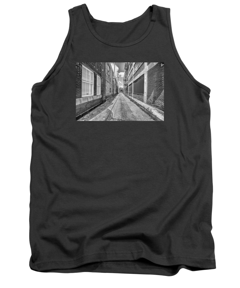 Black And White Tank Top featuring the photograph Back Alley by Tim The Bikeman
