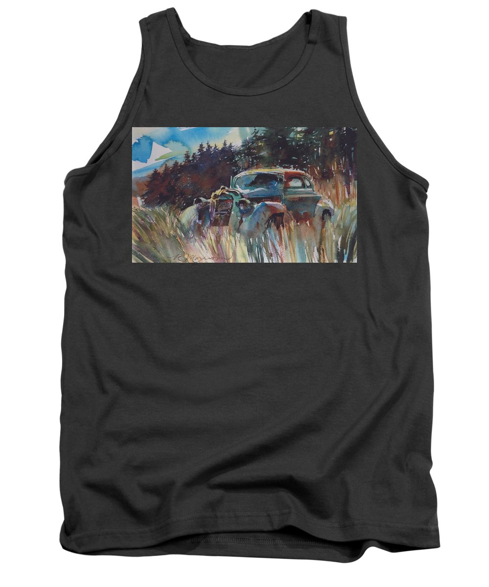 37 Plymouth Tank Top featuring the painting Back to Earth by Ron Morrison
