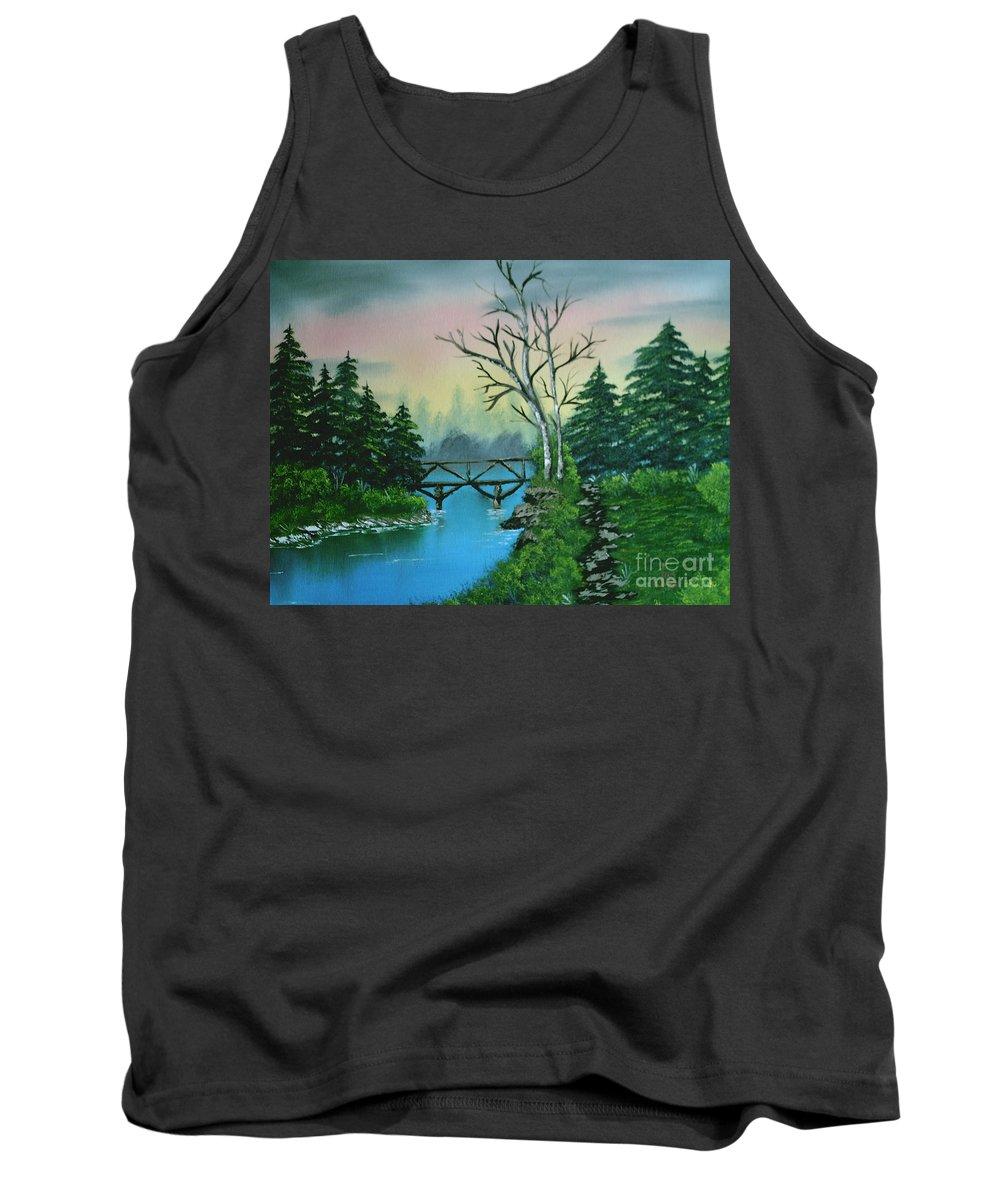 Landscape Tank Top featuring the painting Back Woods Bridge by Jim Saltis
