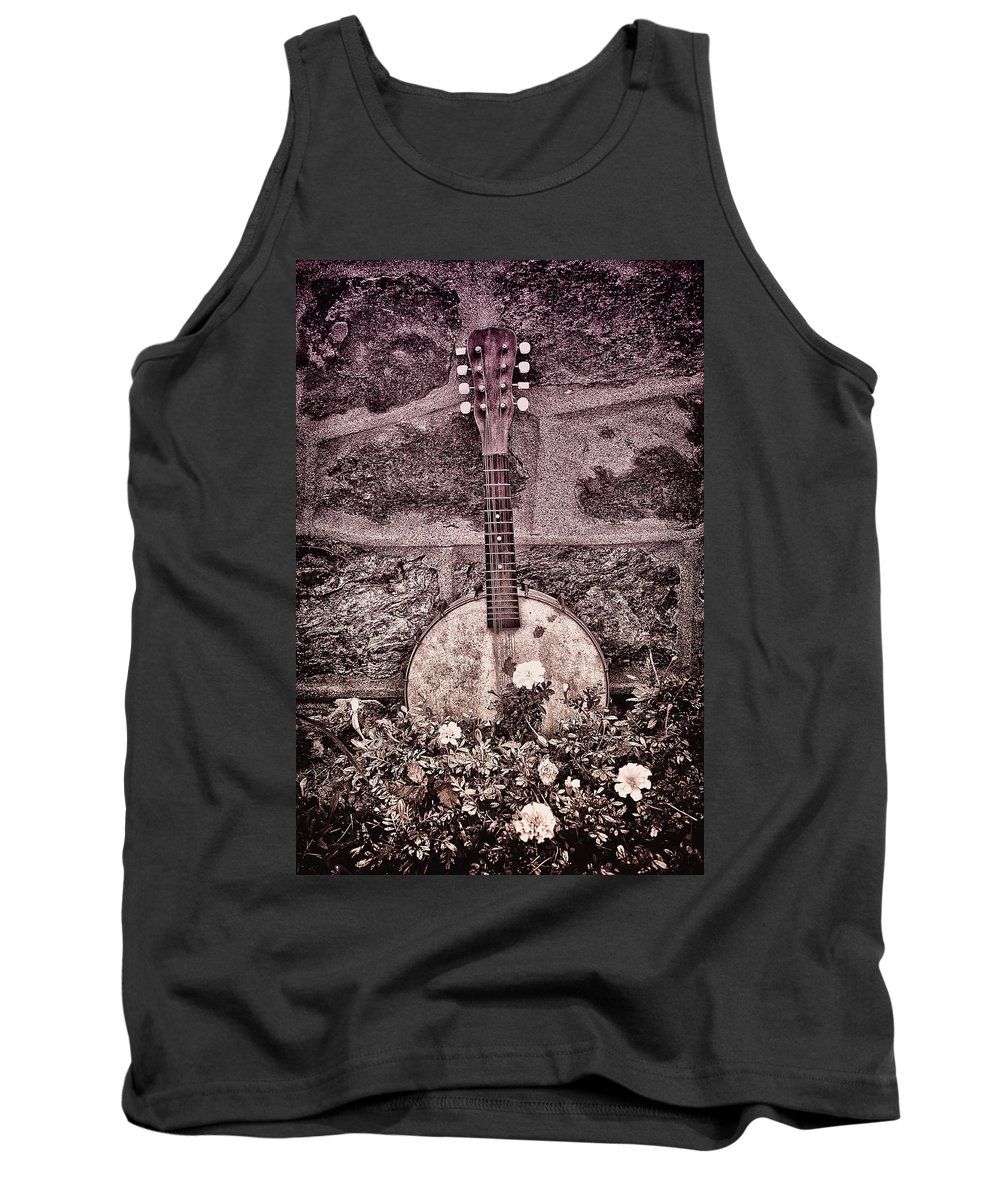 Banjo Tank Top featuring the photograph Banjo Mandolin On Garden Wall by Bill Cannon