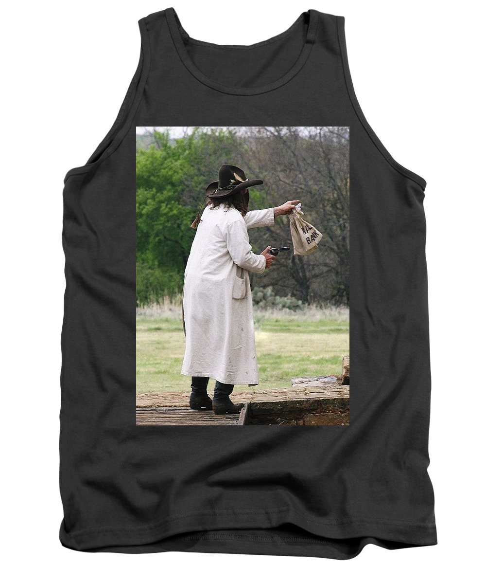 Outlaw Tank Top featuring the photograph Bank Robbery by Cindy New