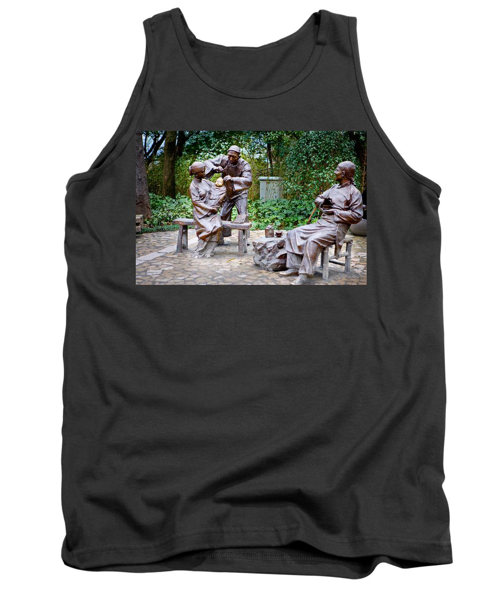 Park Tank Top featuring the photograph Barber Statue by James O Thompson
