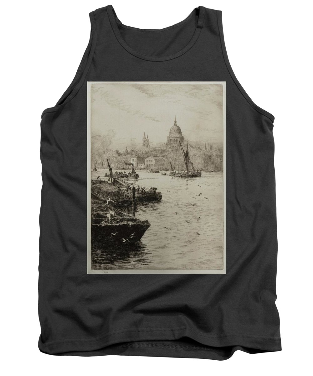 William Lionel Wyllie (1851-1931) Barges On The South Bank Of The Thames Tank Top featuring the painting Barges On The South Bank by William Lionel