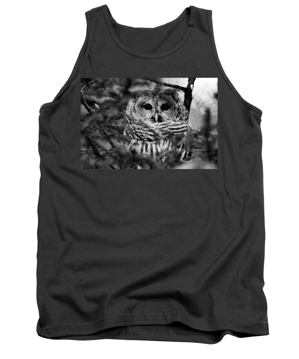 Barred Owl In Thought Tank Top featuring the photograph Barred Owl In Black And White by Tracy Winter