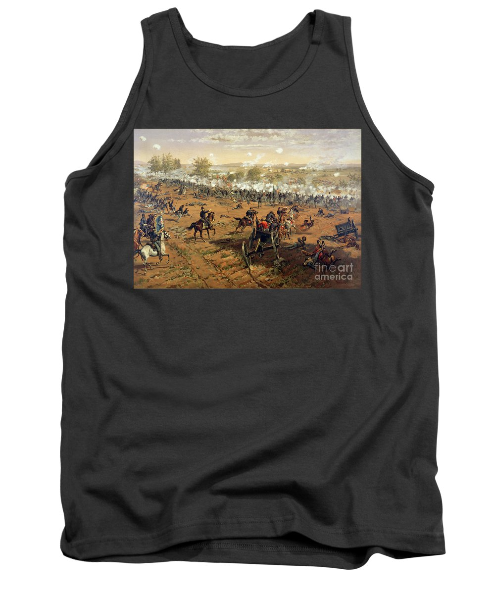 Battle Of Gettysburg Tank Top featuring the painting Battle Of Gettysburg by Thure de Thulstrup