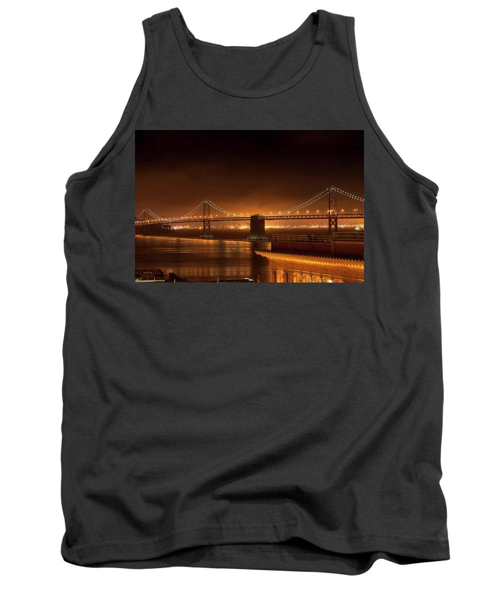 Nighttime Tank Top featuring the photograph Bay Bridge At Night by Daniel Murphy