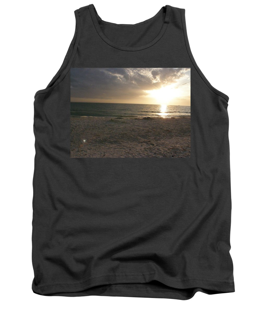Beach Tank Top featuring the photograph Beach At Sunset by Alice Markham