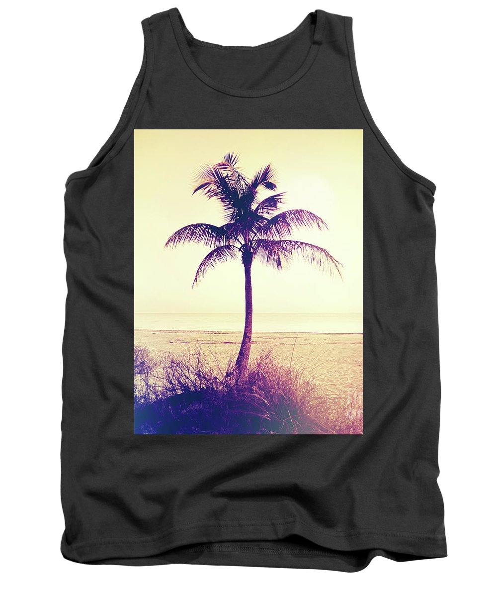 Florida Tank Top featuring the photograph Beach Palm Summer by Chris Andruskiewicz