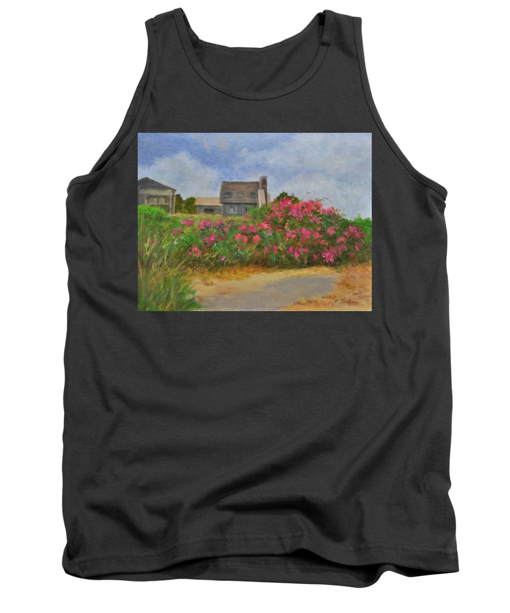 Landscape Tank Top featuring the painting Beach Roses And Cottages by Phyllis Tarlow