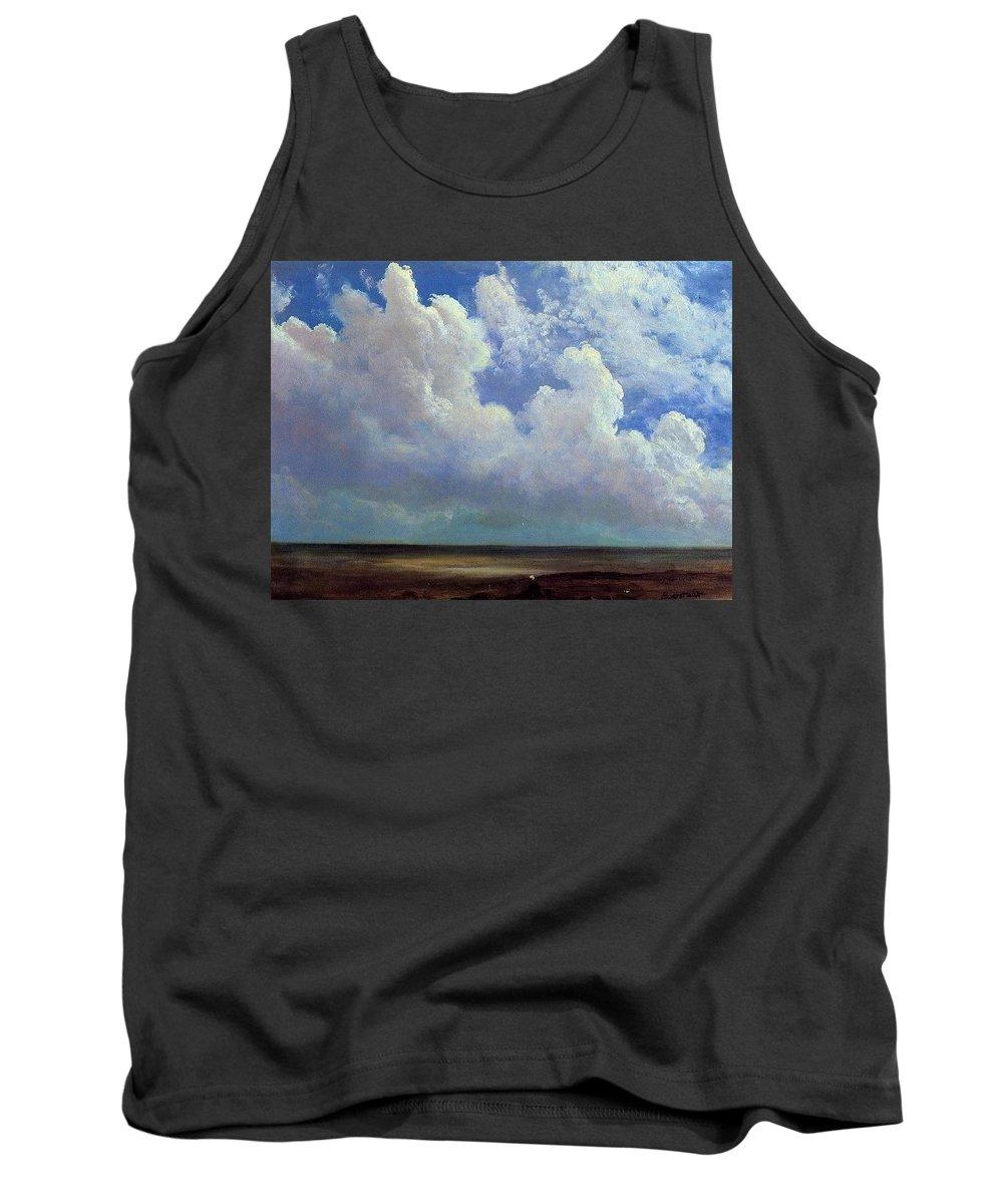 Sky Tank Top featuring the digital art Beach Scene Albert Bierstadt by Eloisa Mannion