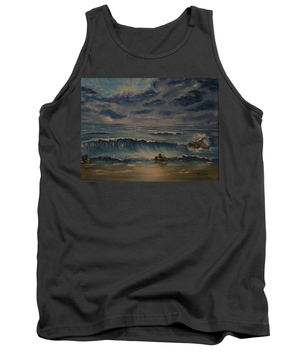 Water Tank Top featuring the painting Beach Scene by Stephen King