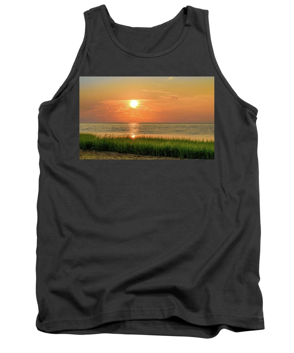 Alan Brown Tank Top featuring the photograph Beach Sunset Glory by Alan Brown