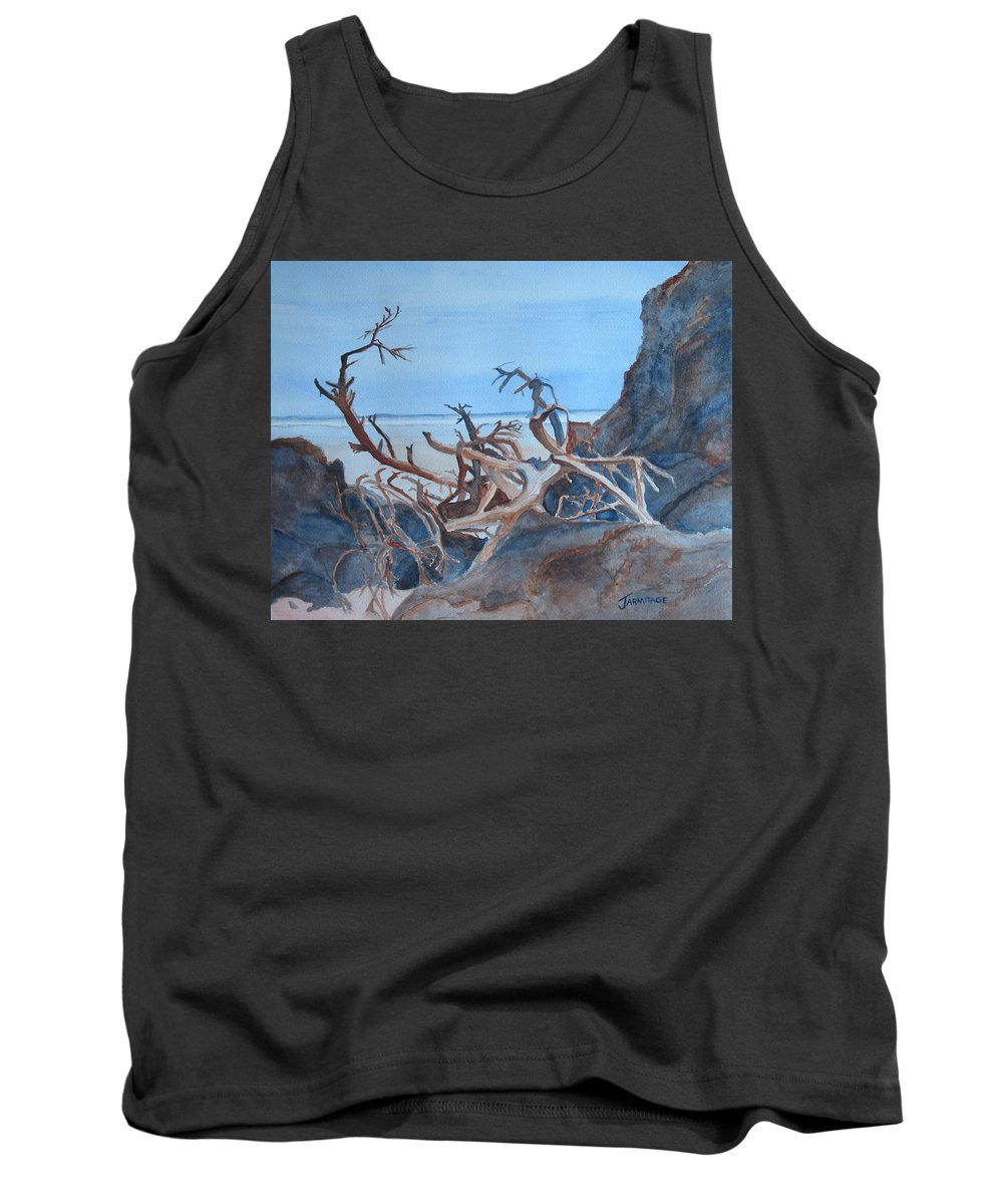Seascapes Tank Top featuring the painting Beach Tangle by Jenny Armitage
