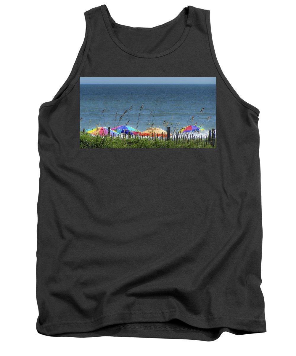 Beach Tank Top featuring the photograph Beach Umbrellas by Teresa Mucha