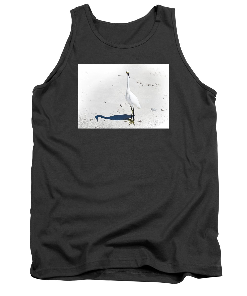 Egret Tank Top featuring the photograph Beached Egret-bonita Beach Fl by J Darrell Hutto
