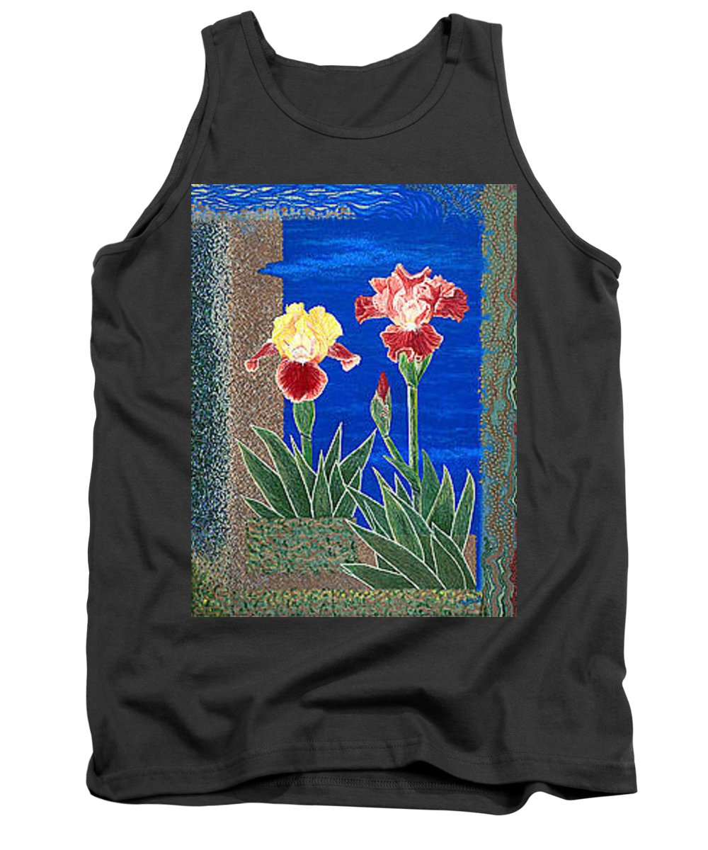 Irises Tank Top featuring the painting Bearded Irises Cheerful Fine Art Print Giclee High Quality Exceptional Color by Baslee Troutman