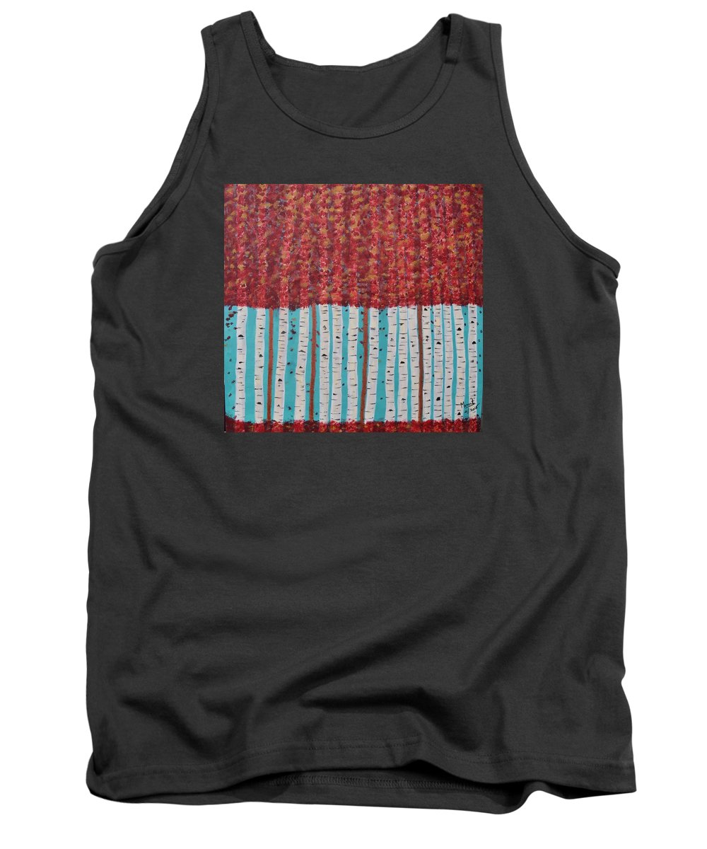 Landscape Tank Top featuring the painting Beautiful Birch by Maneet Kaur
