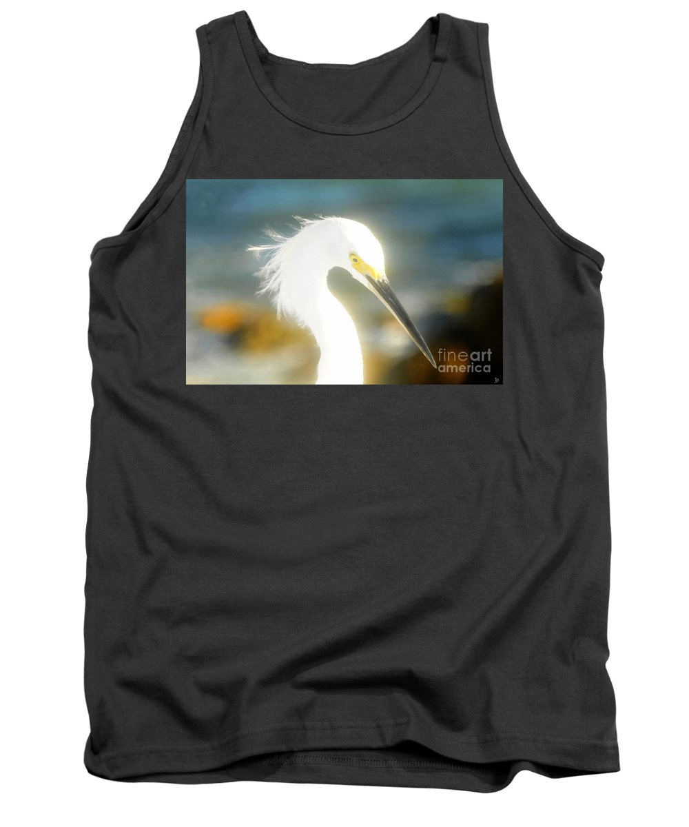 Snowy Egret Tank Top featuring the painting Beautiful In White by David Lee Thompson