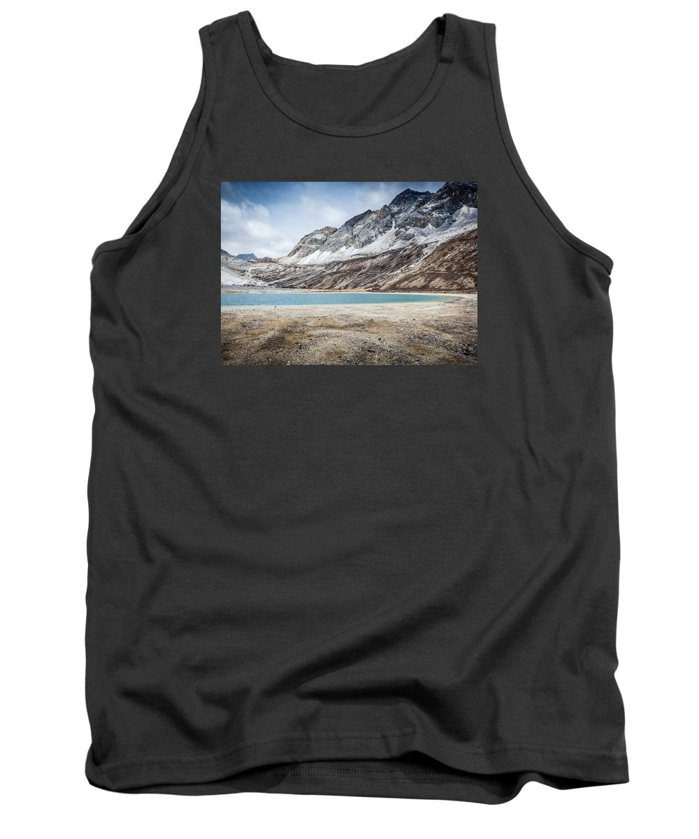 Landscape Tank Top featuring the photograph Beautiful Lake And Snow Mountain by Peng LIU