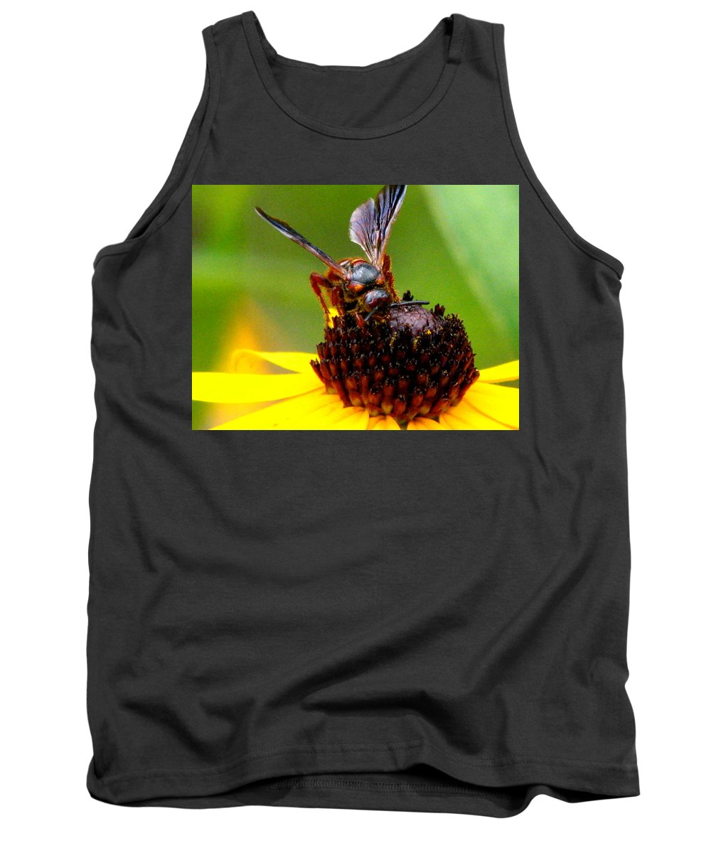 Lazy Susan Tank Top featuring the photograph Bee On Lazy Susan 3 by J M Farris Photography