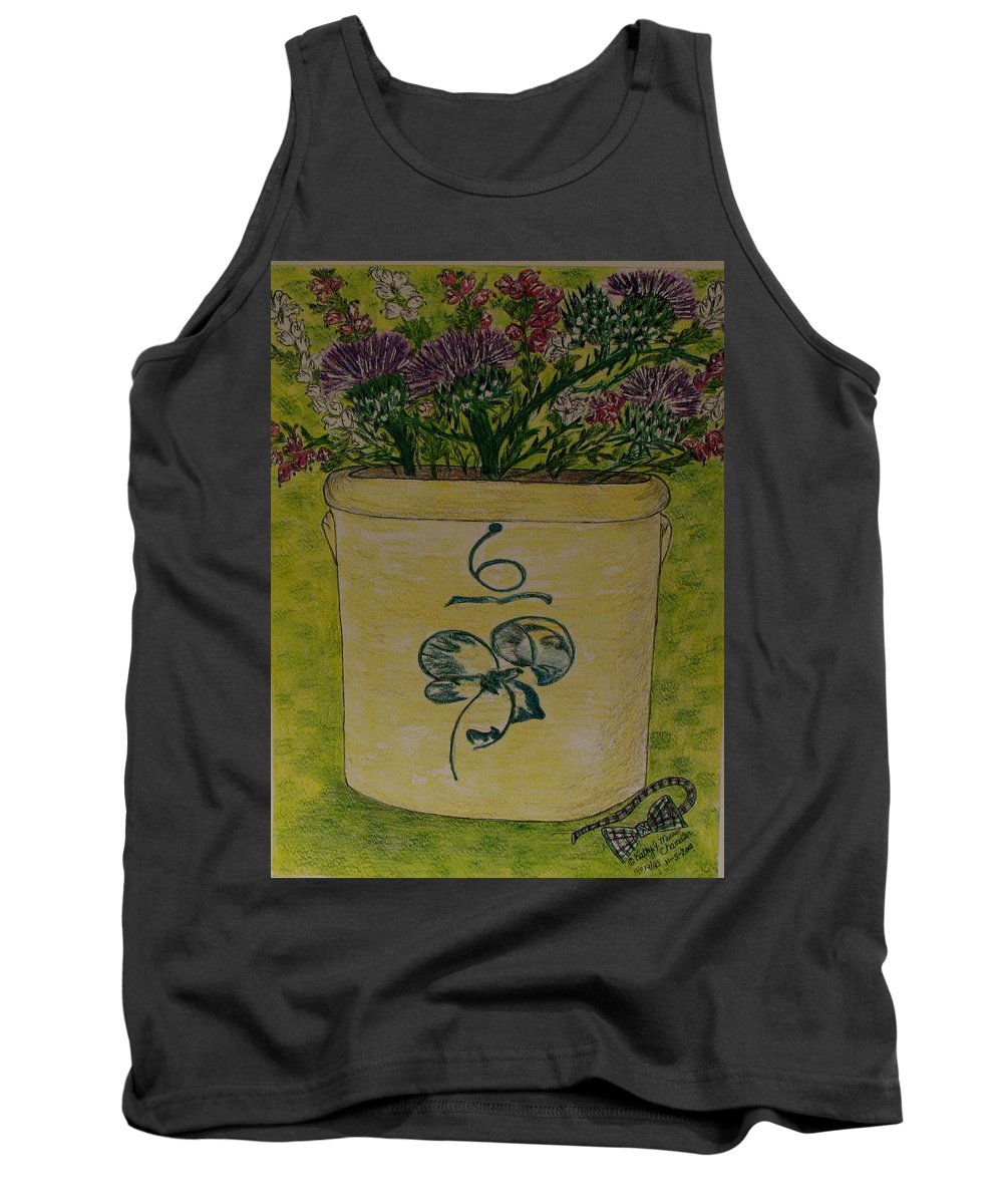 Bee Sting Crock Tank Top featuring the painting Bee Sting Crock With Good Luck Bow Heather And Thistles by Kathy Marrs Chandler