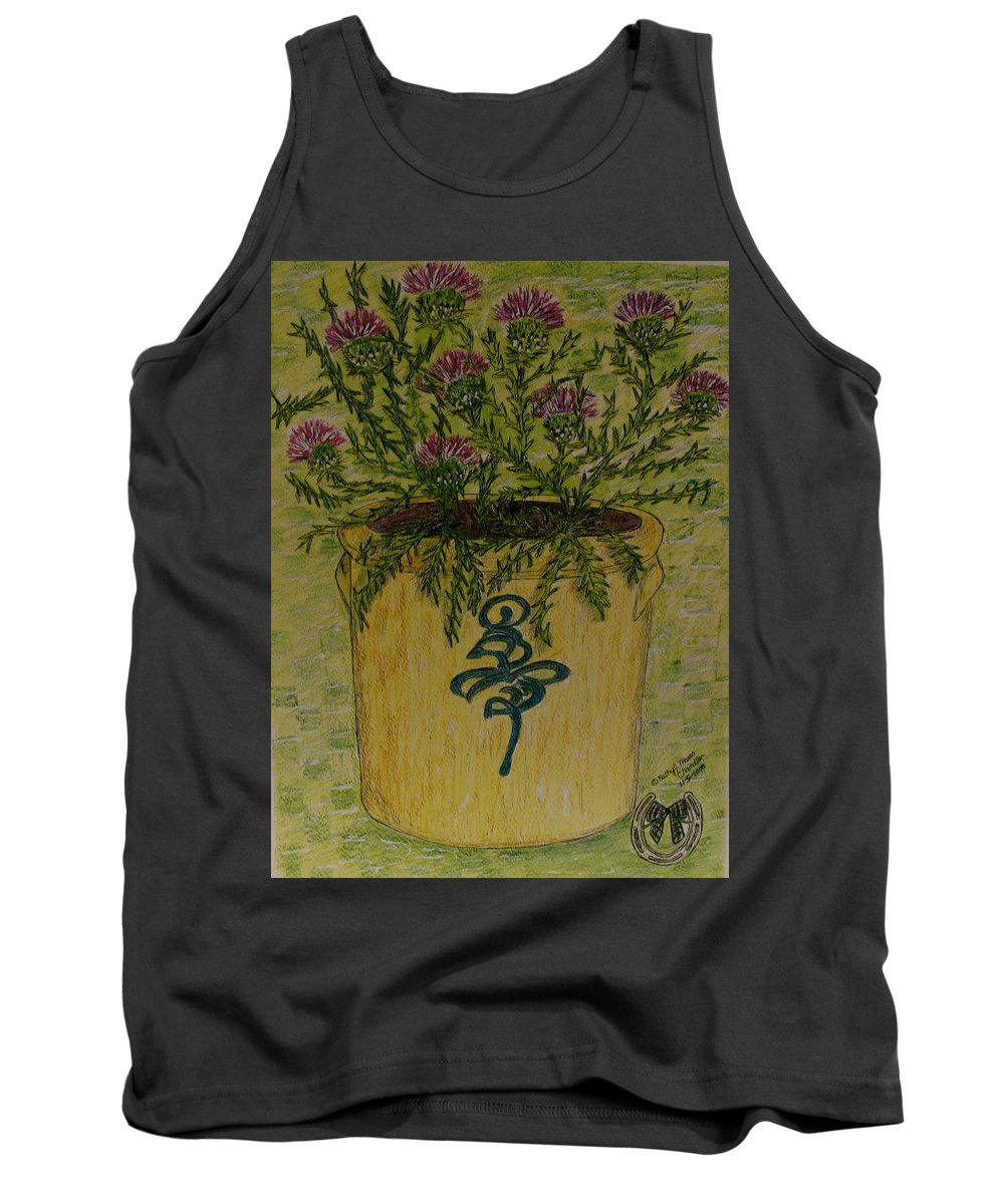 Vintage Tank Top featuring the painting Bee Sting Crock With Good Luck Horseshoe by Kathy Marrs Chandler
