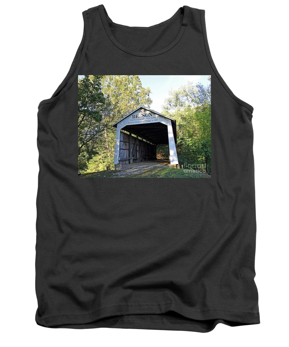 Beeson Tank Top featuring the photograph Beeson Covered Bridge Indiana by Steve Gass