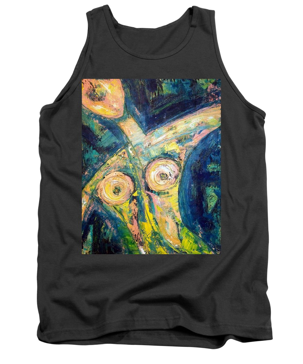 Nude Tank Top featuring the painting Bell Bottom Blues by Kathy Augustine