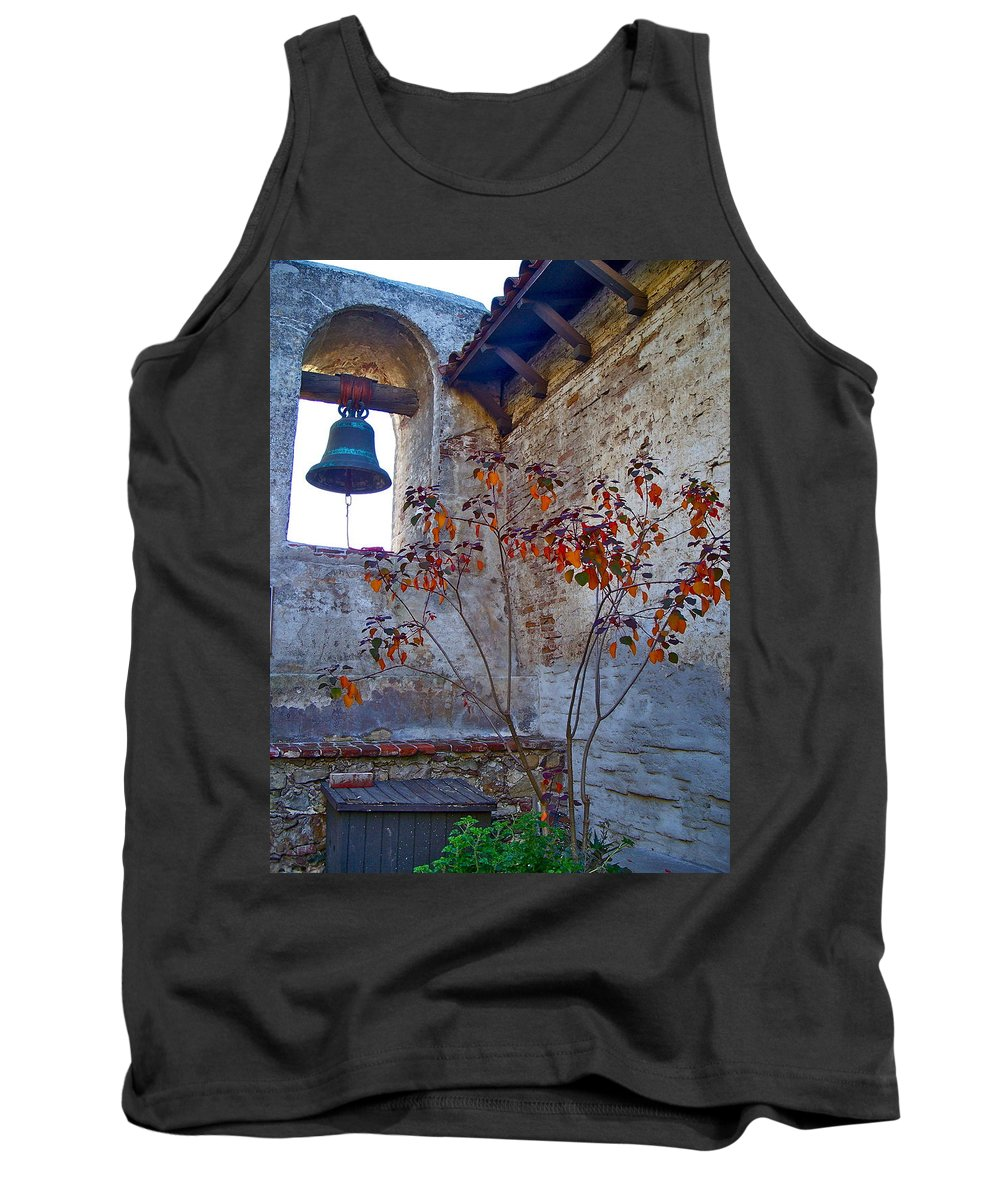 Mission Tank Top featuring the photograph Bell Wall And Eastern Wall Of Serra Chapel In Sacred Garden Mission San Juan Capistrano California by Karon Melillo DeVega