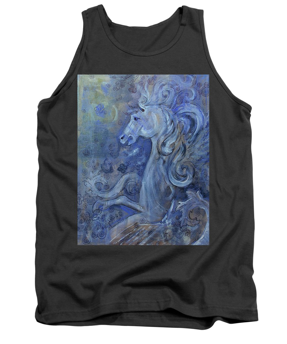 Pegasus Tank Top featuring the mixed media Bellerophons Companion by Jennifer Kelly