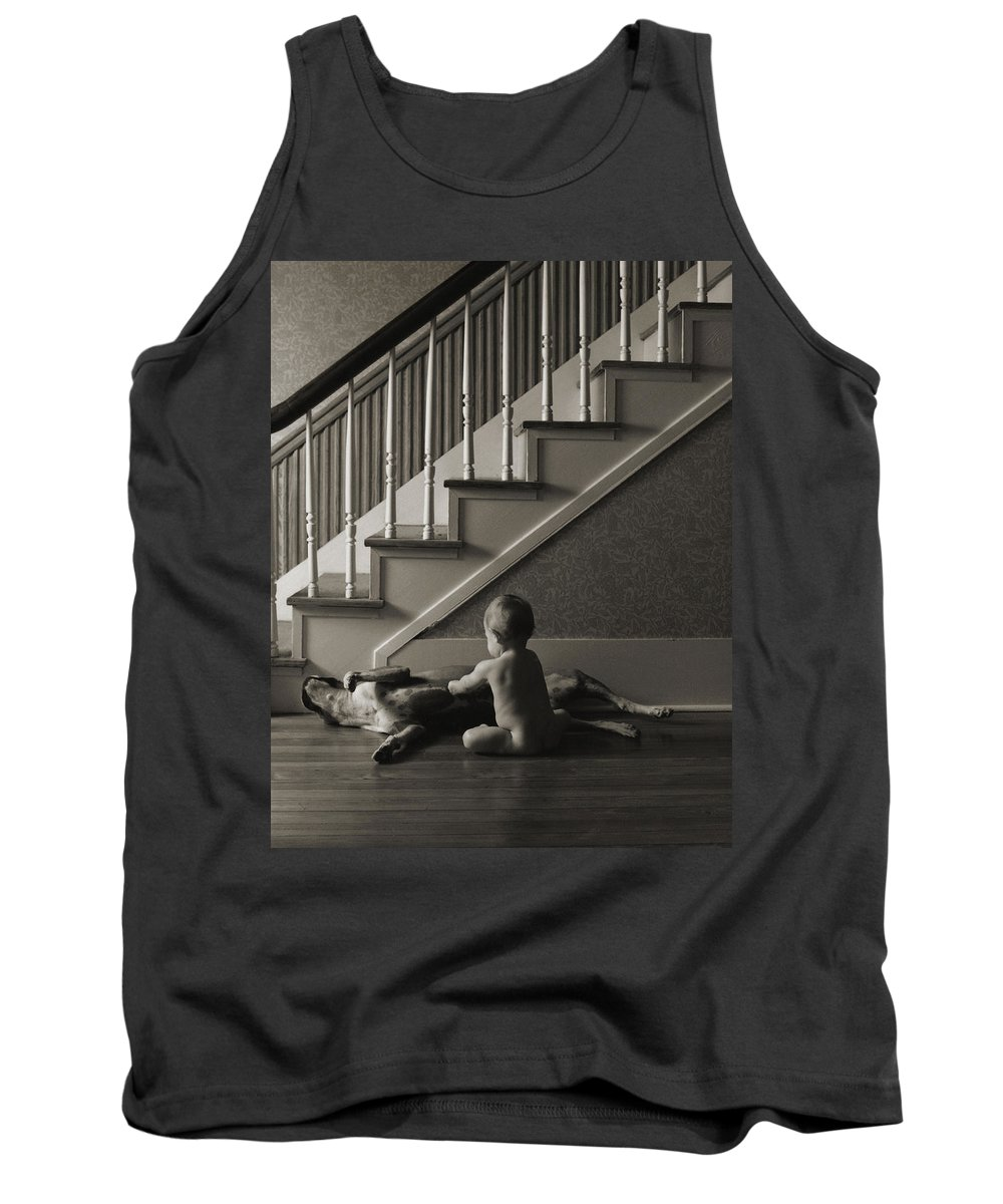 Dog And Baby Tank Top featuring the photograph Belly Scratch by Herman Robert