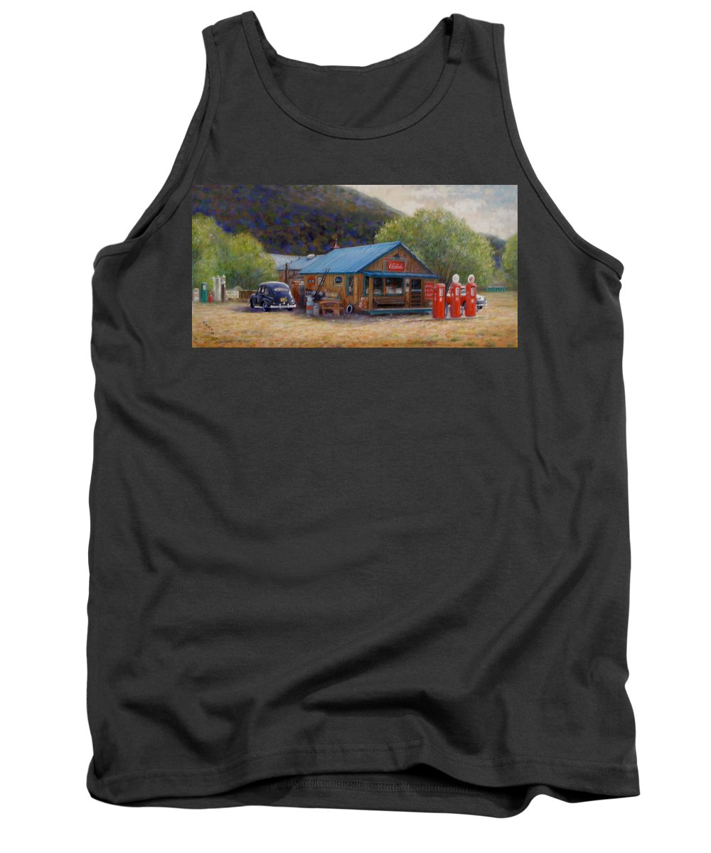 Realism Tank Top featuring the painting Below Taos 2 by Donelli DiMaria