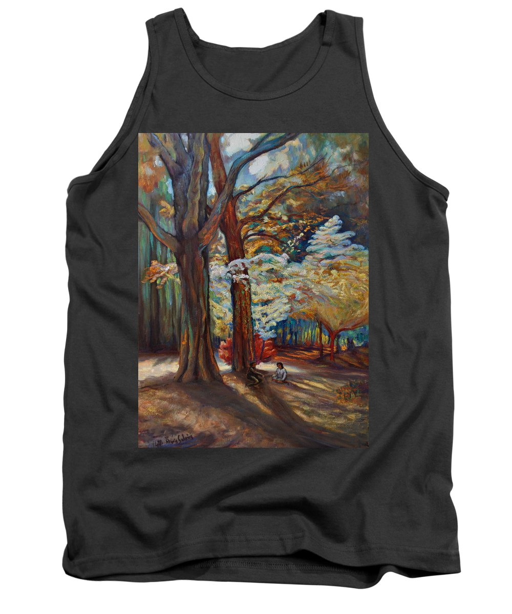 Trees Tank Top featuring the painting Below The Blossums by Maris Salmins