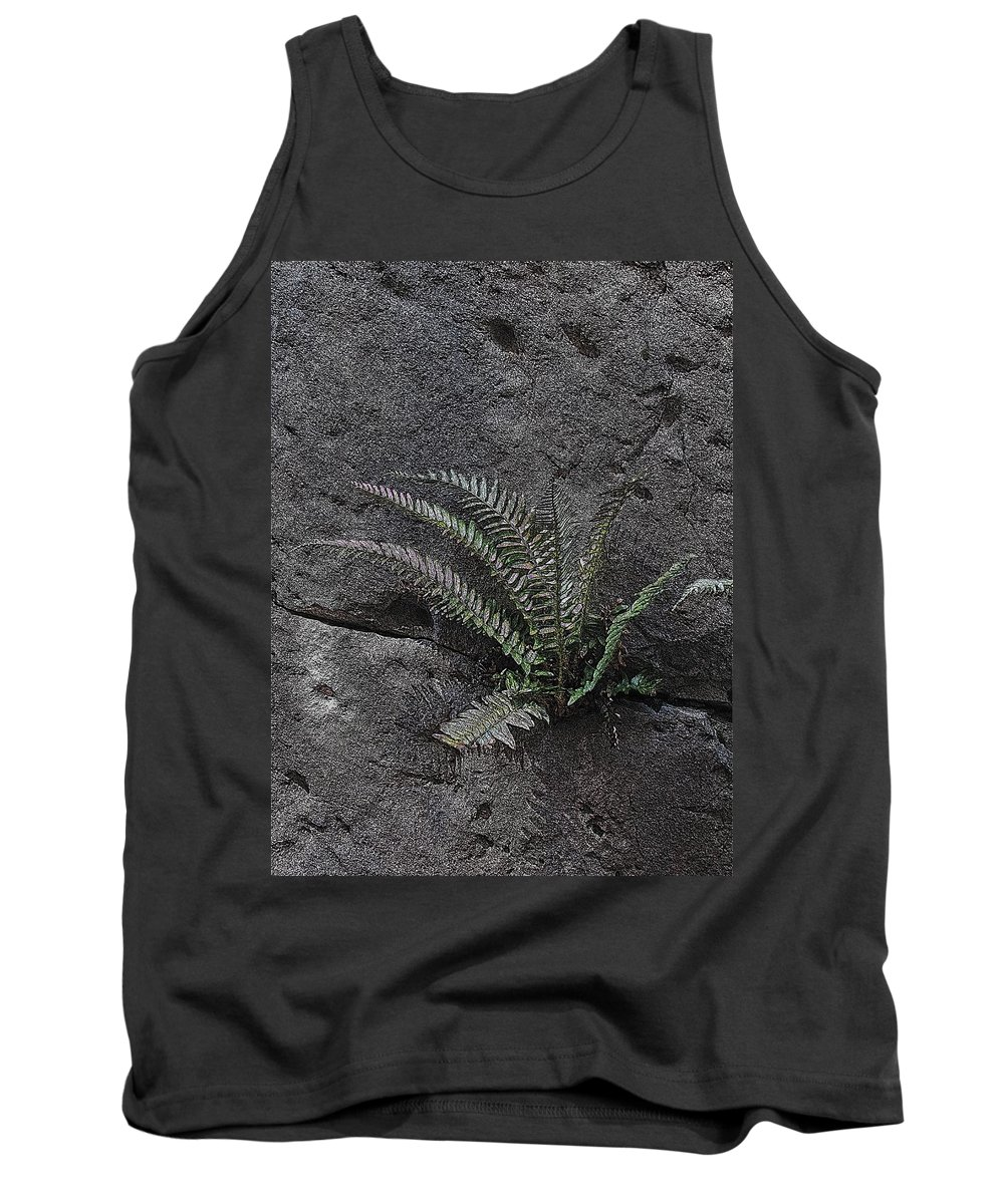 Rock Tank Top featuring the digital art Between A Rock And A Hard Place by Tim Allen