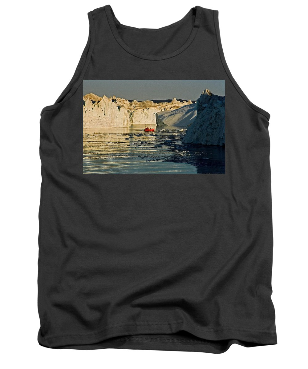 Greenland Tank Top featuring the photograph Between Icebergs - Greenland by Juergen Weiss