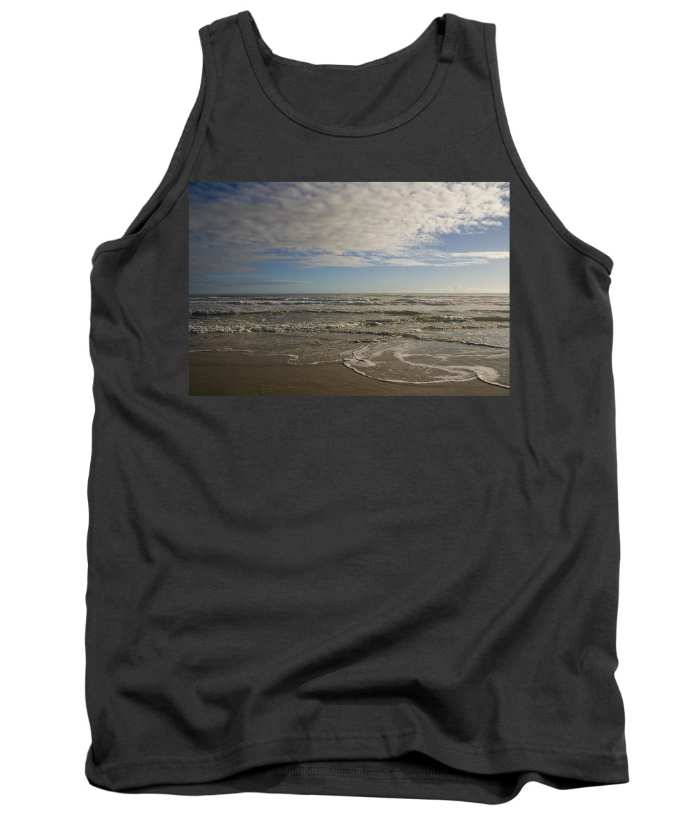 Wave Sand Ocean Beach Sky Water Wave Tide Sun Sunny Vacation Cloud Morning Early Tank Top featuring the photograph Between Night And Day by Andrei Shliakhau
