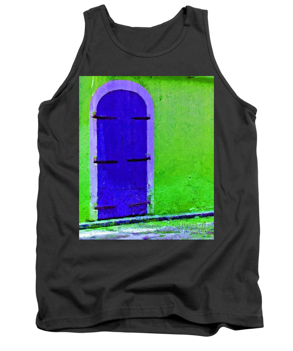 Door Tank Top featuring the photograph Beyond The Blue Door by Debbi Granruth