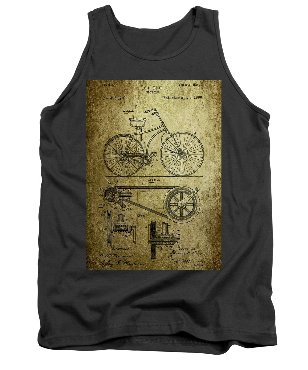 Bicycle Tank Top featuring the photograph Bicycle Patent 1890 by Chris Smith