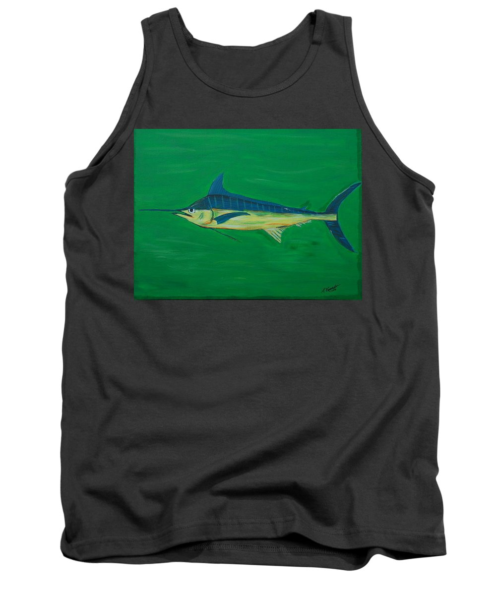 Blue Marlin Tank Top featuring the painting Big Fish by Angela Miles Varnado