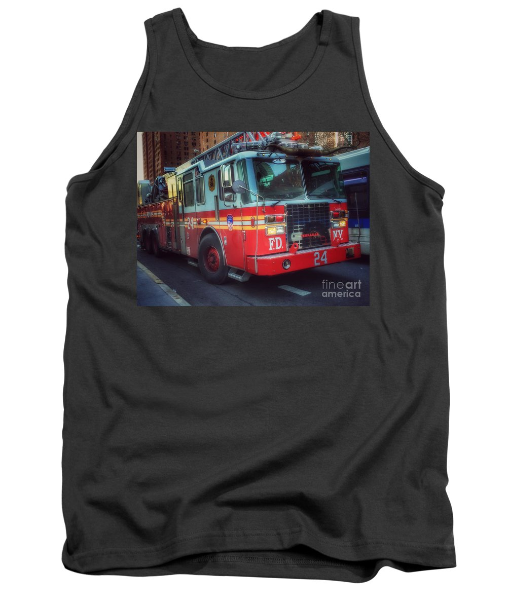 Fire Engine Tank Top featuring the photograph Big Red Engine 24 - Fdny - Firefighters Of New York by Miriam Danar
