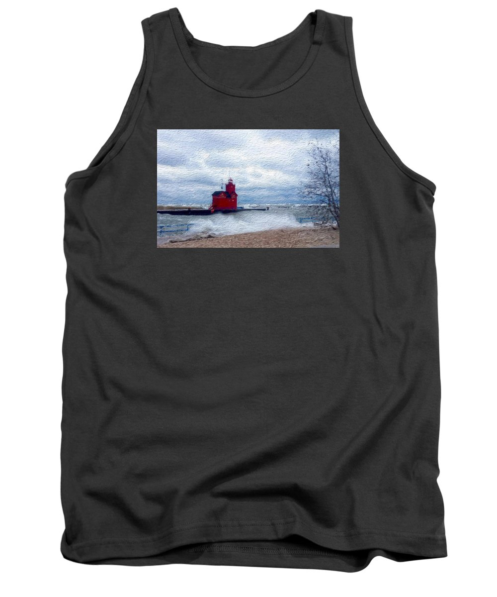 Lighthouse Tank Top featuring the digital art Big Red by Jennifer Whitworth