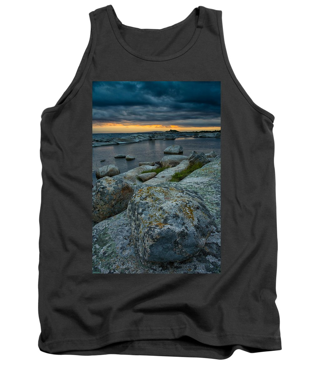 Sunset Tank Top featuring the photograph Big Rocks And Storm Clouds by Irwin Barrett