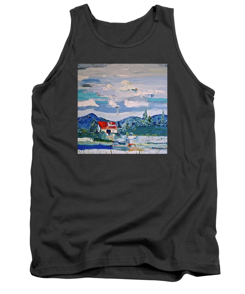 Mountains Tank Top featuring the painting Big Sky by Jo Gerrior