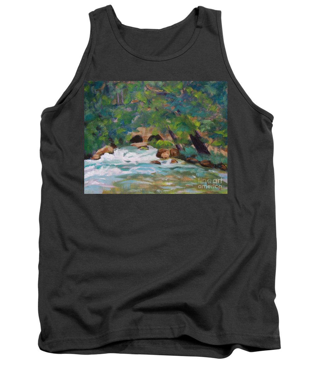 Impressionistic Tank Top featuring the painting Big Spring On The Current River by Jan Bennicoff