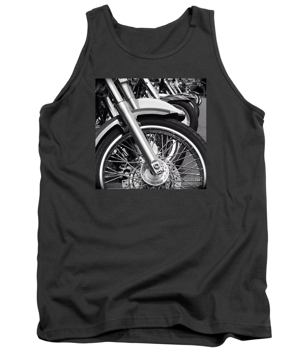 Ridgefield Main Steet Black And White Photo Motocycles Tank Top featuring the photograph bike Riders by Joe Zahra