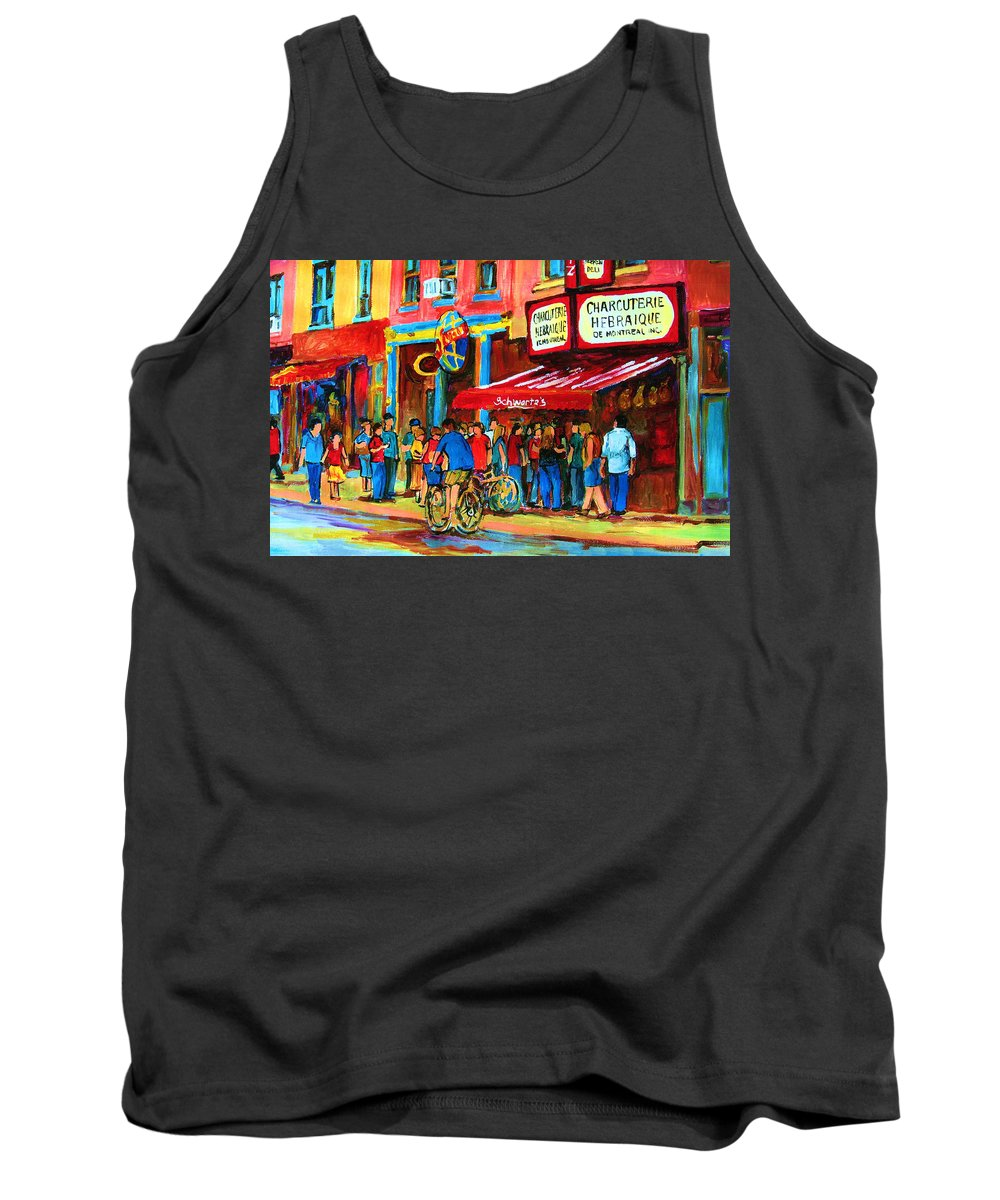 Schwartzs Smoked Meat Deli Tank Top featuring the painting Biking Past The Deli by Carole Spandau