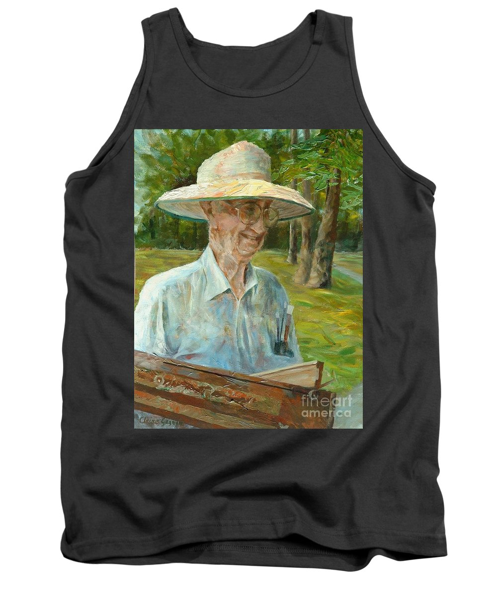 Bill Hines Tank Top featuring the painting Bill Hines The Legend by Claire Gagnon
