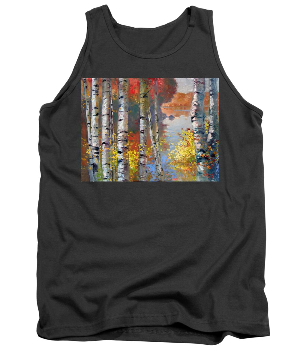 Landscape Tank Top featuring the painting Birch Trees By The Lake by Ylli Haruni