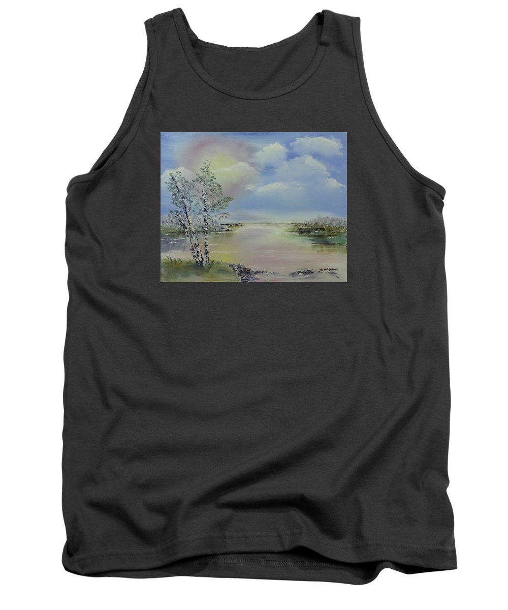 Blue Tank Top featuring the photograph Birch Trees Landscape by Jim McGraw